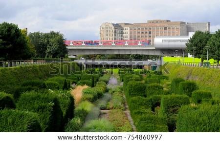 Bon Silvertown, London, UK   09/14/17: Docklands Light Railway Pontoon