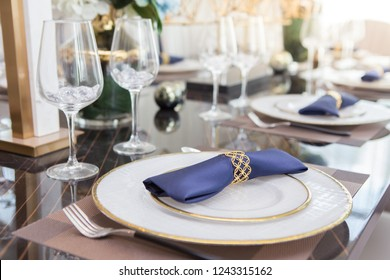 Silverware and brassware set on Luxury Dining Table
