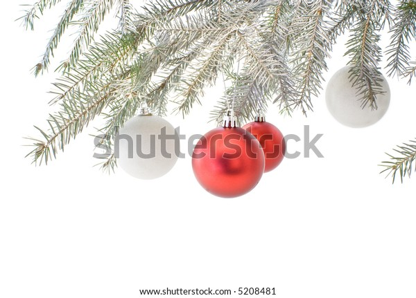 A silvery Christmas branch with colorful baubles