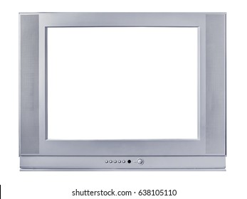 Silvery frame of a TV set on a white background