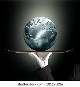 silvery globe green backround