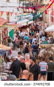 SILVES, PORTUGAL - August 9th, 2015 : Details, colors, people and general mood of the weekly Medieval fair event that happens in the small portuguese village of Silves.