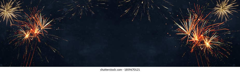 Silvester / New Year / Party background banner panorama long- firework on rustic dark black blue texture, with space for text