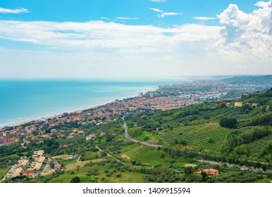 Silvi, Italy - 19 May 2019 - A small hilltop village with views of the Adriatic Sea, in the province of Teramo, Abruzzo region.