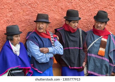Silvia, Colombia - September 11, 2018: guambiano indigenous people dressed traditionally participanting at the weekly open air market