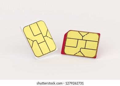 Sim card put on the table. Technology concept.