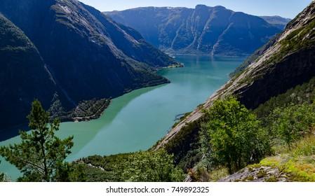 simadalfjord near Eidfjord, Bergen county, Norway. view from Kjeasen farm