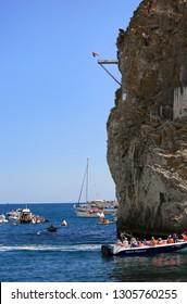 Simeiz, Crimea, August 25, 2017. Freerate Cliff Diving World Cup Crimea