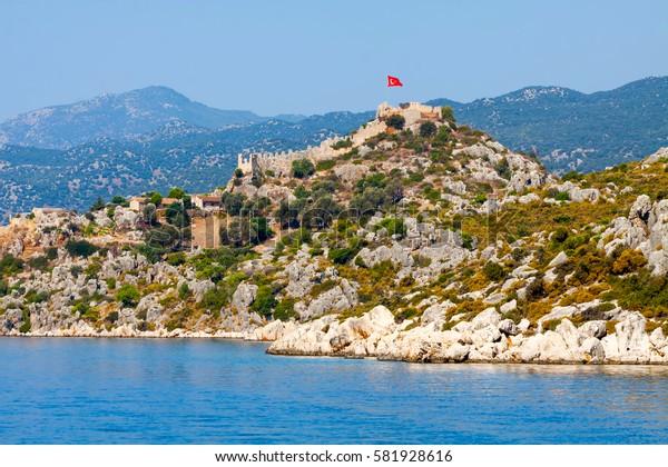 Simena castle near Kekova island in Turkey