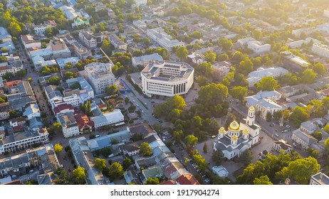 Simferopol, Crimea - August 31, 2020: State Council of the Republic of Crimea. City center panorama at sunset time, Aerial View