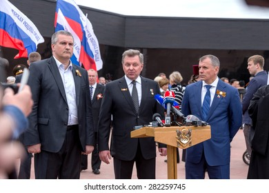 Simferopol, Red, Crimea- May 8, 2015: The opening of the memorial to victims of fascism on site of concentration camp death. Leaders of Crimea Sergei Aksyonov,  Vladimir Konstantinov. Press conference