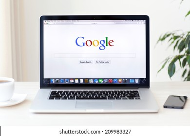 Simferopol, Russia - August 7, 2014: Google biggest Internet search engine. Google.com domain was registered September 15, 1997.