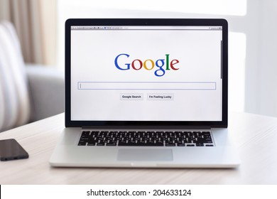 Simferopol, Russia - July 13 2014: Google biggest Internet search engine. Google.com domain was registered September 15, 1997.