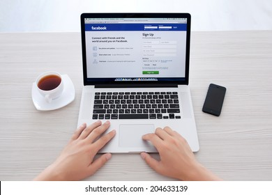Simferopol, Russia - July 13 2014: Facebook the largest social network in the world. It was founded in 2004 by Mark Zuckerberg and his roommates during training at the Harvard University.