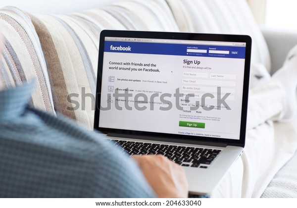 Simferopol, Russia - July 13, 2014: Facebook the largest social network in the world. It was founded in 2004 by Mark Zuckerberg and his roommates during training at the Harvard University.