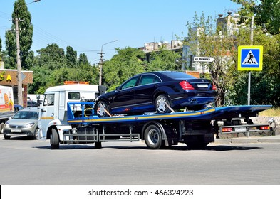Simferopol, Russia, July, 14, 2016. The car loaded on a tow truck in Simferopol