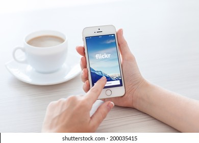 Simferopol, Russia - June 22, 2014: Flickr service designed for storage and later use by the user of digital photos and videos.