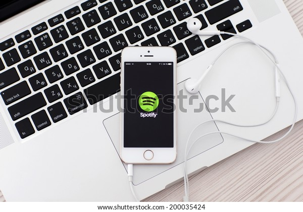 Simferopol, Russia - June 22, 2014: Spotify Swedish music service that offers legal streaming music. Was launched in October 2008.
