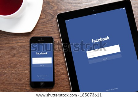 Simferopol, Russia - March 30, 2014: Facebook the largest social network in the world. It was founded in 2004 by Mark Zuckerberg and his roommates during training at the Harvard University.