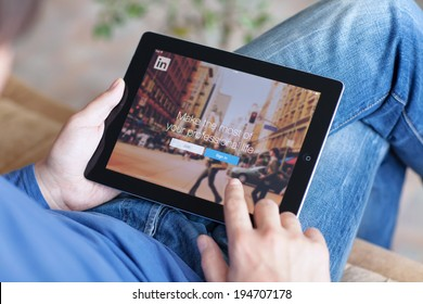 Simferopol, Russia - May 25, 2014: LinkedIn is a social network for search and establishment of business contacts. It is founded in 2002.