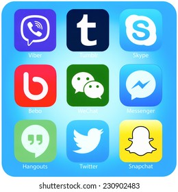 SIMFEROPOL, RUSSIA - NOVEMBER 04, 2014: Set of popular social networking applications on iPhone display, printed on paper. Include Twitter, Skype, Viber, Tumblr and other.