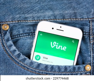 SIMFEROPOL, RUSSIA - NOVEMBER 11, 2014: Silver Apple iphone 6 in jeans pocket displaying Vine application. Vine is a short-form video sharing service. Founded in June 2012