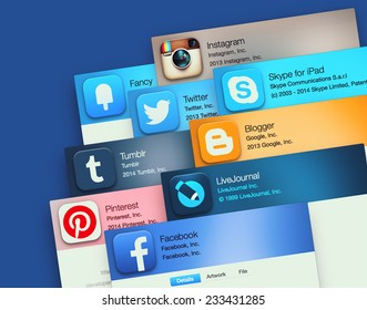 SIMFEROPOL, RUSSIA - NOVEMBER 26, 2014: Popular social networking applications on an Apple macbook display. Include: facebook, instagram, twitter, skype and other