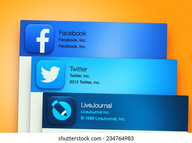 SIMFEROPOL, RUSSIA - NOVEMBER 30, 2014: Popular social networking applications on an Apple macbook display. Include: facebook, LiveJournal, Twitter