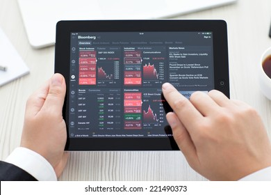 Simferopol, Russia - September 13, 2014: Bloomberg the leading supplier of financial information for professional participants of the financial markets.