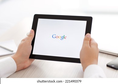 Simferopol, Russia - September 13, 2014: Google biggest Internet search engine. Google.com domain was registered September 15, 1997.