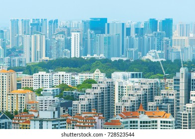 Simgapore real estate. Apartment buildings. Background
