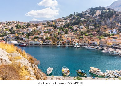 Simi, Greece - 26 September, 2017: Gialos, also spelt Yialos, the main harbour of the island