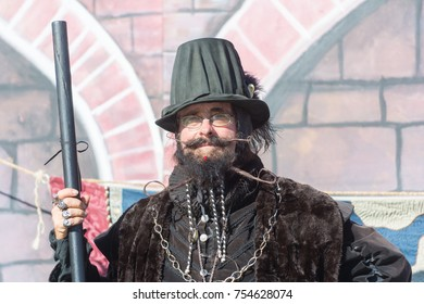 Simi Valley, CA - USA - November 11, 2017: Participant wearing typical clothes during Nottingham Festival Renaissance Faire.