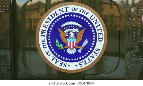 """SIMI VALLEY, CALIFORNIA - JANUARY 8: Presidential seal on the side of presidential helicopter """"Marine One"""" at the Ronald Reagan Presidential Library in Simi Valley, California on January 8, 2016."""