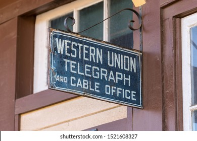 Simi Valley California, USA - October 3, 2019:  Vintage Western Union telegraph sign hanging at the historic Santa Susana Railroad Station and Depot Museum and Park.