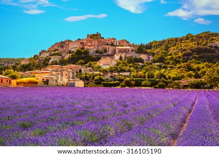 Simiane la Rotonde village and lavender. Provence, France, Europe
