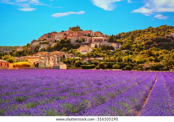 Simiane la Rotonde village and lavender. Provence, France, Europe