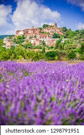 Simiane-la-Rotonde, hilltop village in Provence with lavender fields