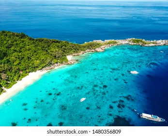Similan island aerial views from above in Thailand
