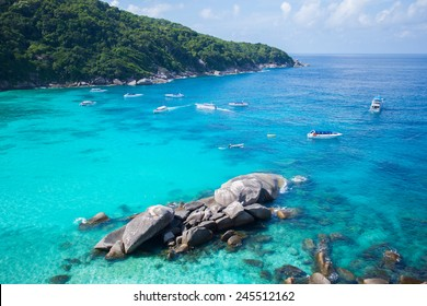 Similan islands in Thailand. The islands is most beautiful and clear water. It is a popular tourist destination.