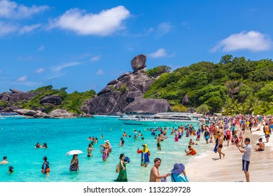 SIMILAN, THAILAND - MARCH 21, 2018: Tropical landscape on Similan islands, Thailand in a summer day