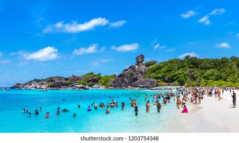 SIMILAN, THAILAND - MARCH 21, 2018: Panorama of Tropical landscape on Similan islands, Thailand in a summer day