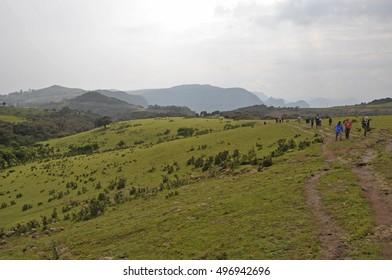 Simion National Park; Ethiopia - September 29; 2012: Group of tourists making a trek inSimien National Park.
