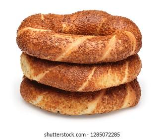 Simit, Turkish bagel isolated on white background