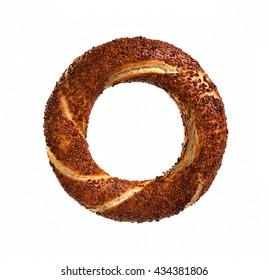 Simit (Turkish bagel) isolated on white background