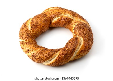 Simit, widely knows as turkish bagel, on a white background