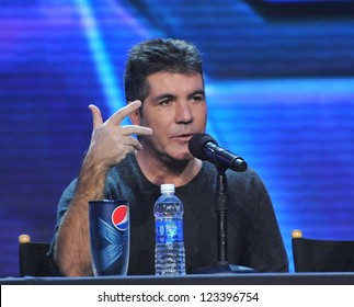 "Simon Cowell at the press conference for the season finale of Fox's ""The X Factor"" at CBS Televison City, Los Angeles. December 17, 2012  Los Angeles, CA Picture: Paul Smith"