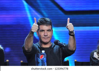 """Simon Cowell at the press conference for the season finale of Fox's """"The X Factor"""" at CBS Televison City, Los Angeles. December 17, 2012  Los Angeles, CA Picture: Paul Smith"""