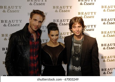 Simon Huck,Kim Kardashian & Jonathan Cheban attend Beauty & Essex Red Carpet in downtown Manhattan,NY on December 10, 2010.