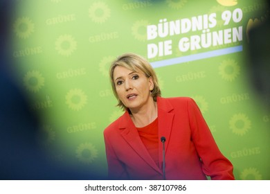 Simone Peter, Co-leader of the German Greens Party, speaks during a news conference held at their headquarters in Berlin on March 7, 2016.